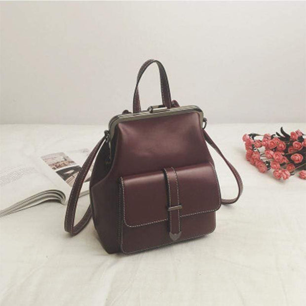 Obangbag Wine Red Multifunction Retro Vintage Backpack Shoulder Bag Backpack