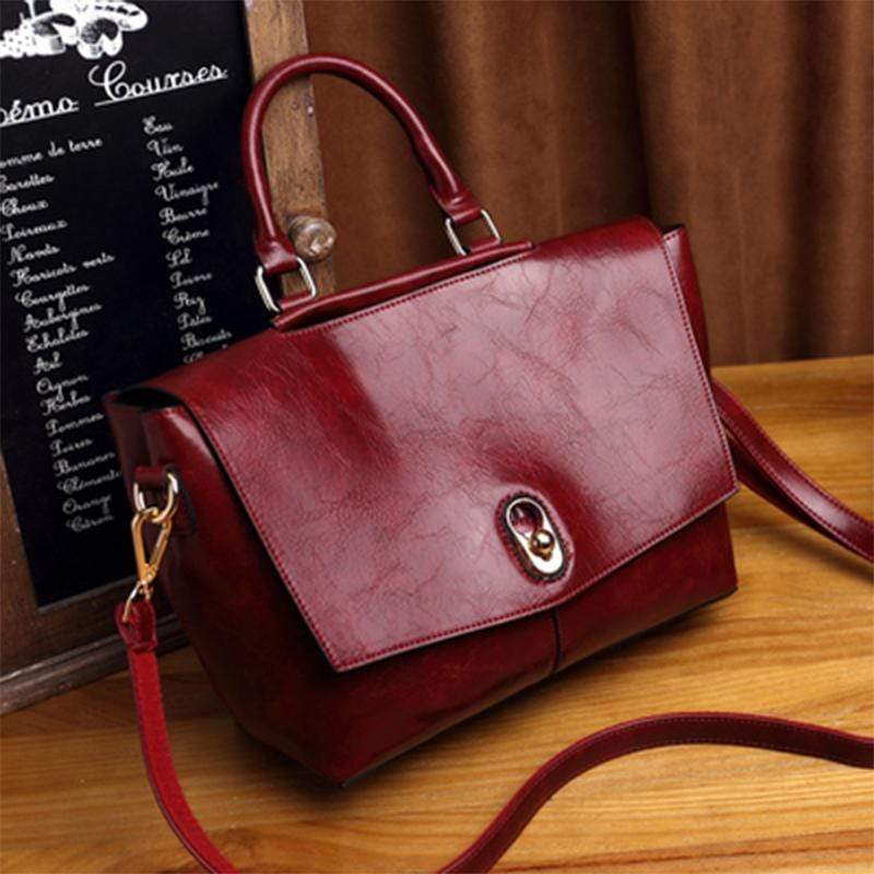 Obangbag Wine red Retro Large Capacity Ladies Vintage Leather Handbag Shoulder Bag