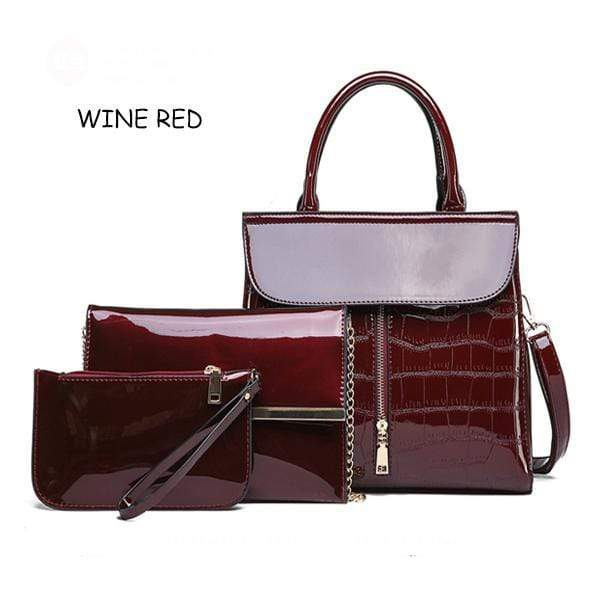 Obangbag wine red Shiny Leather 3 Pieces Bag Set Big Capacity Work Tote Bags