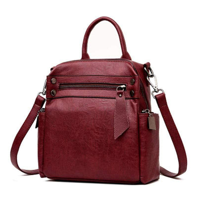 Obangbag Wine Red Stylish Large Capacity Work Backpack For Women With Multi Side Pockets
