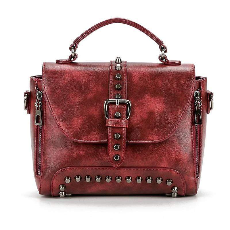 Obangbag Wine Red Vintage Oil Leather Luxury Handbags Retro Shoulder Bag