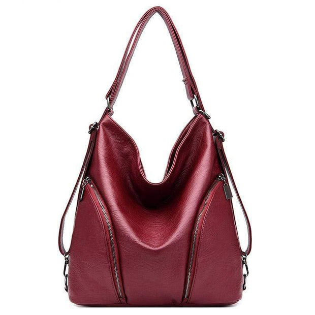 Obangbag Wine Red Women Anti-theft Leather Work Backpack With Side Pockets