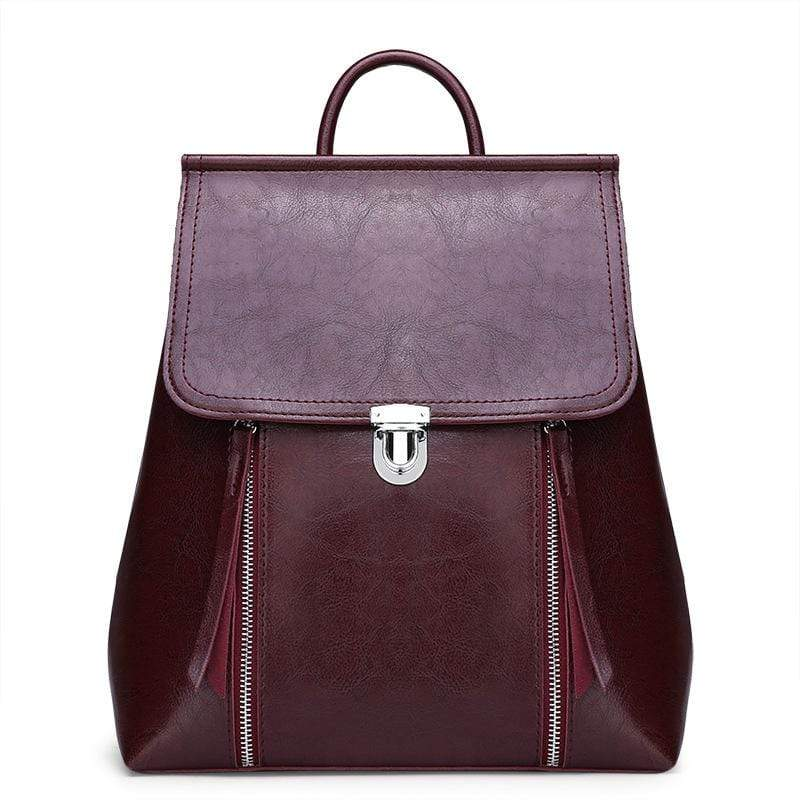 Obangbag Wine Red Women Chic Stylish Retro Multifunction Roomy Leather Backpack Bookbag Shoulder Bag