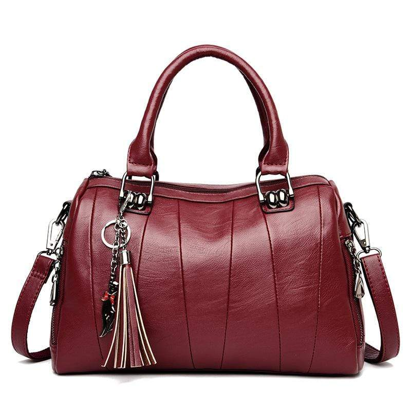 Obangbag Wine Red Women Elegant Simple Roomy Lightweight Leather Boston Bag Handbag Crossbody Bag
