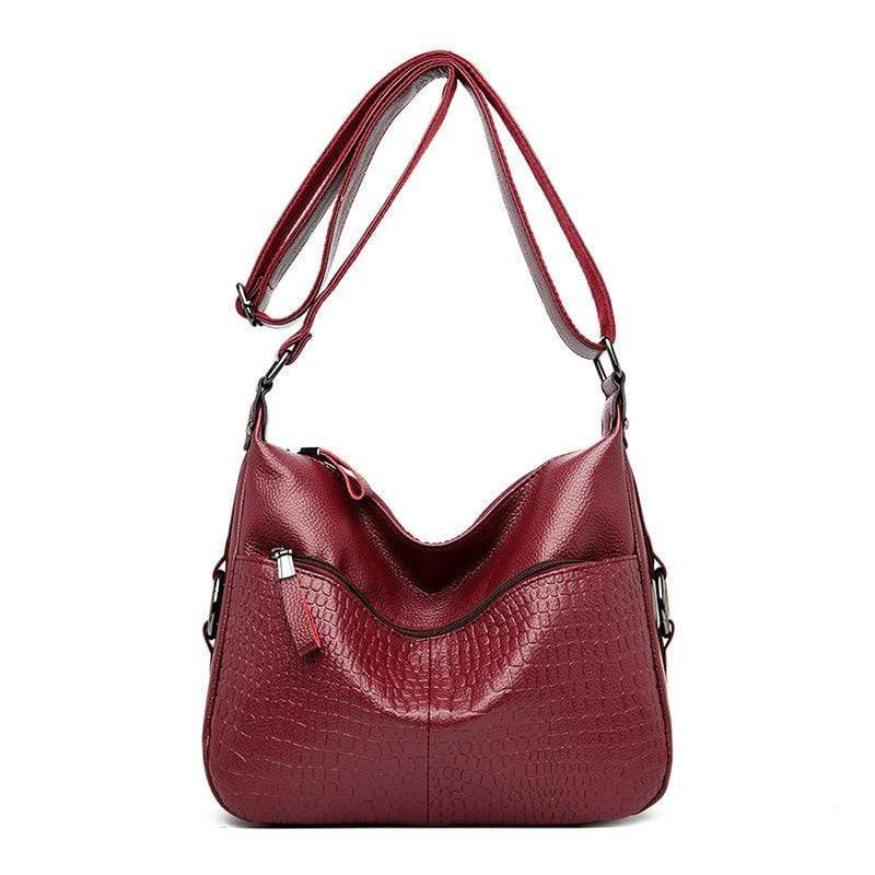 Obangbag Wine Red Women Elegant Stylish Large Capacity Soft Leather Shoulder Bag Crossbody Bag for Work