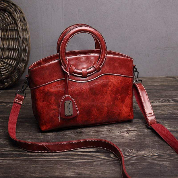 Obangbag Wine Red Women Layered Messenger Bag Retro Vintage Handbag