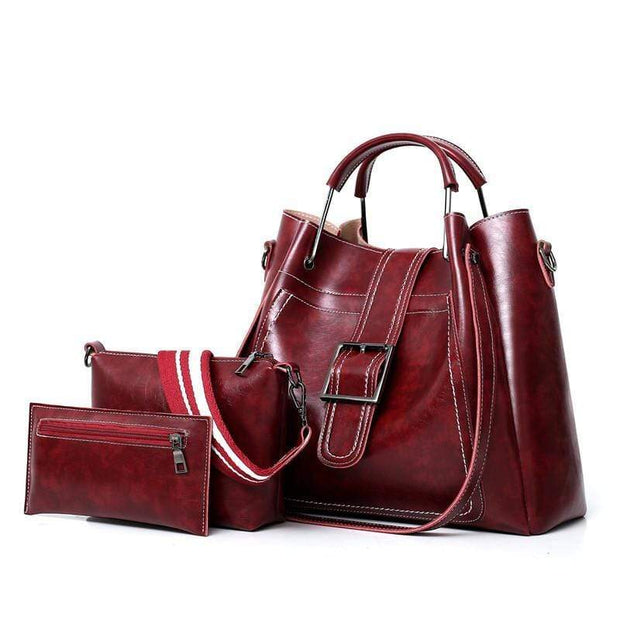Obangbag Wine Red Women Luxury 3 Pieces Bag Set Retro Oil Wax Leather Purse Handbag
