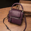 Obangbag Wine Red Women Retro Vinage Multi Pockets Small Square Leather Bag Phone Bag Mini Crossbody Bag