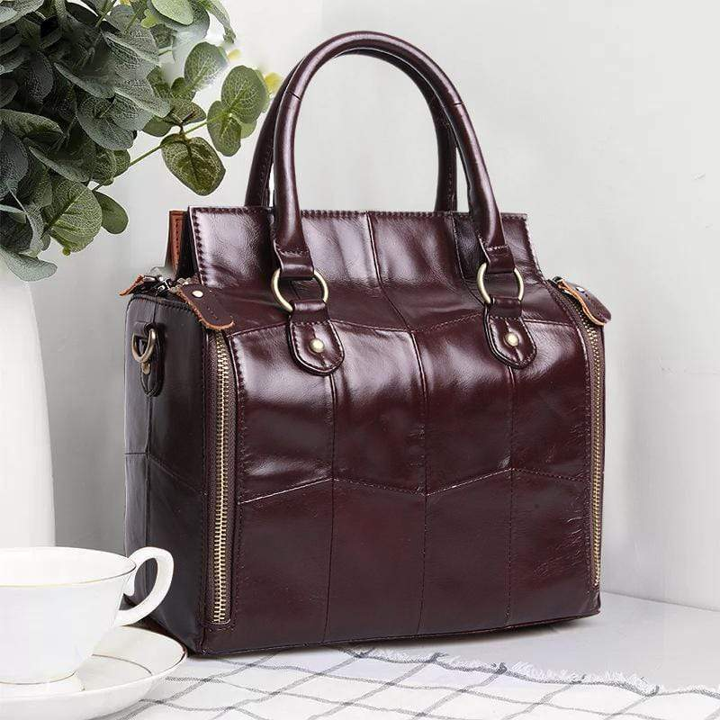 Obangbag Wine Red Women Retro Vintage Genuine Leather Handbag Multi Pockets Shoulder Bag Handbag File Case