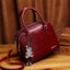 Obangbag Wine Red Women Retro Vintage Leather Handbag Multi Pockets Shoulder Bag