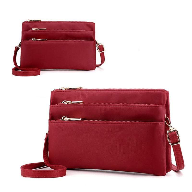 Obangbag Wine Red Women Simple Lightweight Multi Layers Daily Multi Pockets Nylon Shoulder Bag Crossbody Bag