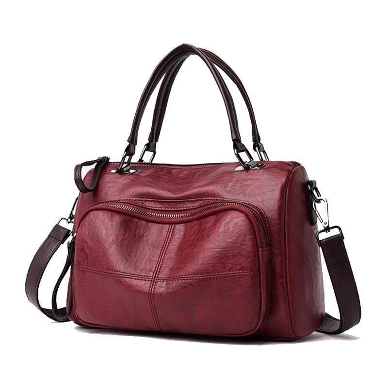 Obangbag Wine Red Women Soft Leather Multi Purpose Roomy Large Capacity Handbag
