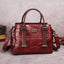 Obangbag Wine Red Women Vintage Crocodile Pattern Leather Handbag Multi Pockets Shoulder Bag