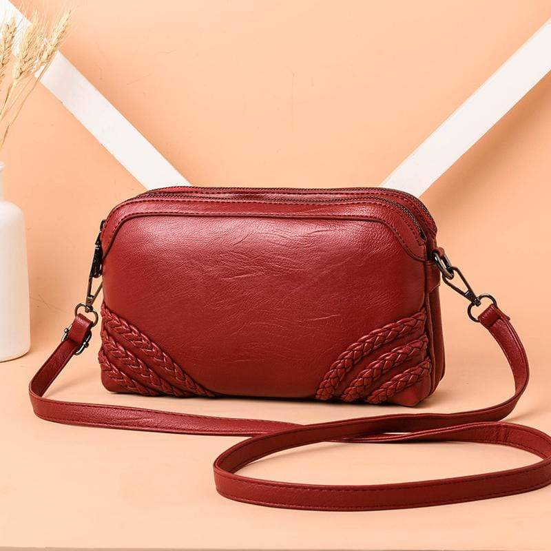 Obangbag Wine Red Women Vintage Cute Mini Roomy Professional Soft Leather Crossbody Bag Shoulder Bag