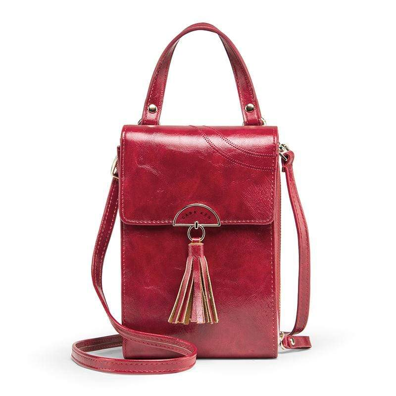 Obangbag Wine Red Women Vintage Cute Multi Layers Roomy Portable Leather Phone Bag Wallet Crossbody Bag