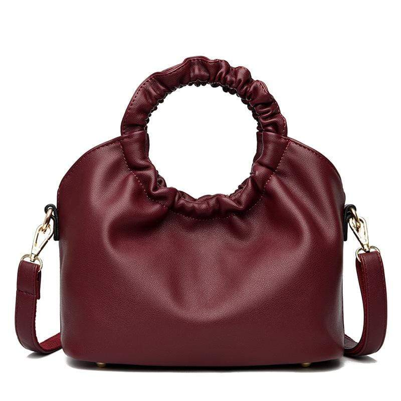 Obangbag Wine Red Women Vintage Designer Elegant Chic Lightweight Large Capacity Solf Leather Handbag Shoulder Bag Crossbody Bag