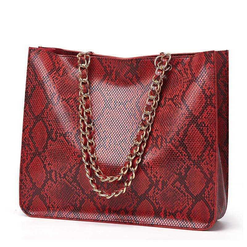 Obangbag Wine Red Women Vintage Large Capacity Lightweight Multifunction Snake Skin Pattern Leather Handbag Shoulder Bag Chain Bag