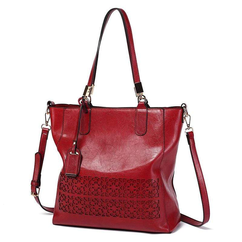 Obangbag Wine Red Women Vintage Multifunction Large Capacity Floral Oil Wax Leather Tote Bag Crossbody Bag Handbag