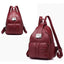 Obangbag Wine Red Women Vintage Roomy Lightweight Waterproof Soft Leather Backpack for Work for Travel