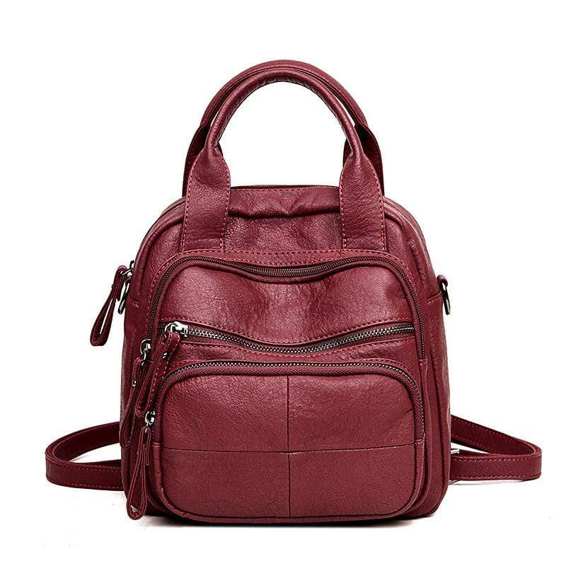 Obangbag Wine Red Women Vintage Simple Multifunction Roomy Lightweight Soft Leather Backpack Shoulder Bag Handbag