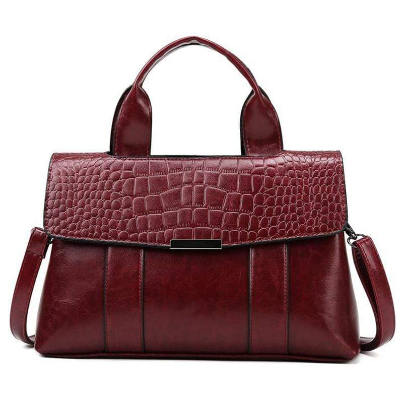 Obangbag Wine Red Women Vintage Simple Professional Roomy Multifunction Leather Handbag Crossbody Bag Briefcase