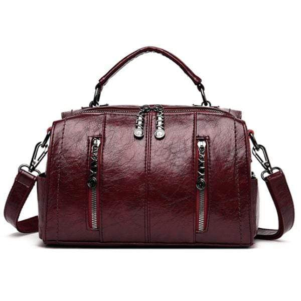 Obangbag WineRed Multifunctional School Large Capacity Female Leather Tote Bag Backpack