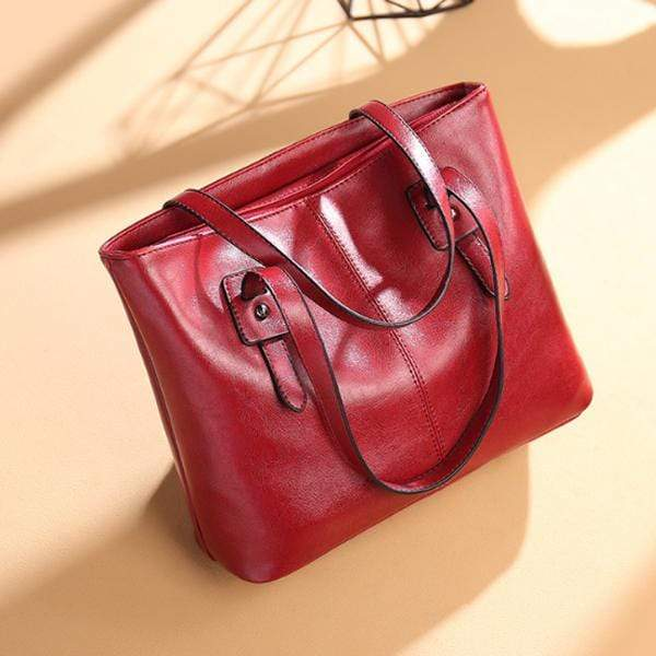 Obangbag WineRed / Small Women Stylish Simple Large Capacity Multifunction Oil Wax Leather Tote Bag Handbag