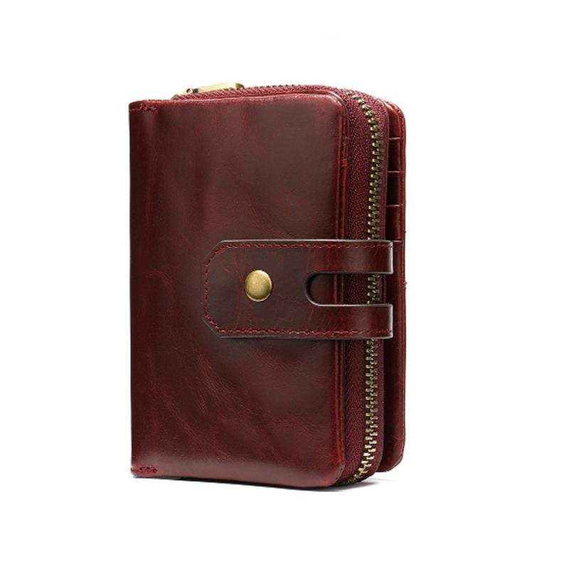 Obangbag WineRed Women Chic Cute Large Capacity Multifunction Genuine Leather Wallet