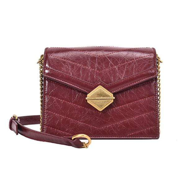 Obangbag WineRed Women Chic Vintage Stylish PU Leather Square Bag Messenger Bag Chain Bag Shoulder Bag