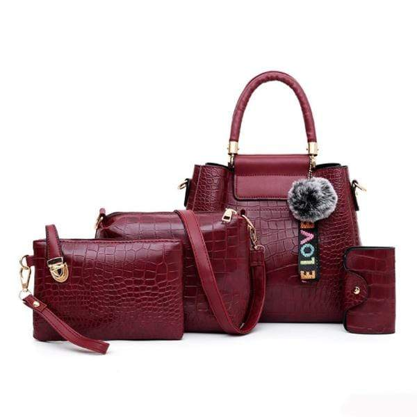Obangbag WineRed Women Retro Vintage Multi Pockets Crocodile Leather 4In1 Shouder Bag Crossbody Bag Purse Handbag