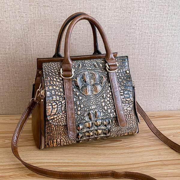 Obangbag Woman Crocodile Leather Large Capacity Shoulder Messenger Bag