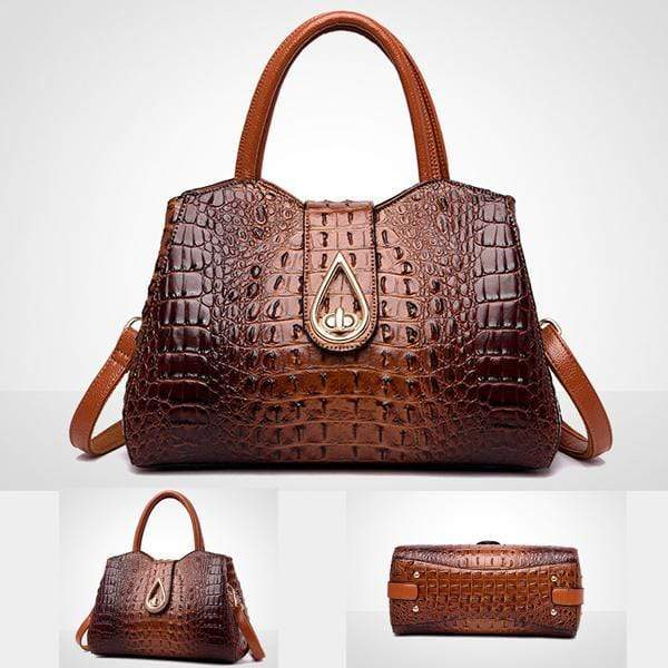 Obangbag Woman crocodile pattern women shoulder bag soft leather cross-body bag handbag