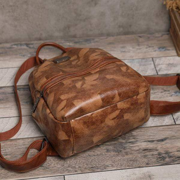 Obangbag Woman retro leaf pattern oil wax skin large capacity multi-purpose backpack