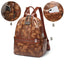 Obangbag Woman Retro Vintage Camouflage Leaf Pattern Oil Wax Leather Large Capacity Backpack for School for Work