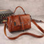 Obangbag Woman Vintage Leather Multi Pocket Handbag