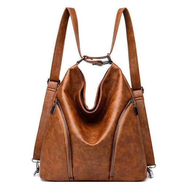 Obangbag Women Anti-theft Leather Work Backpack With Side Pockets