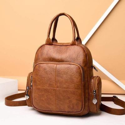 Obangbag Women Casual Retro Vintage Leather Backpack Shoulder Bag