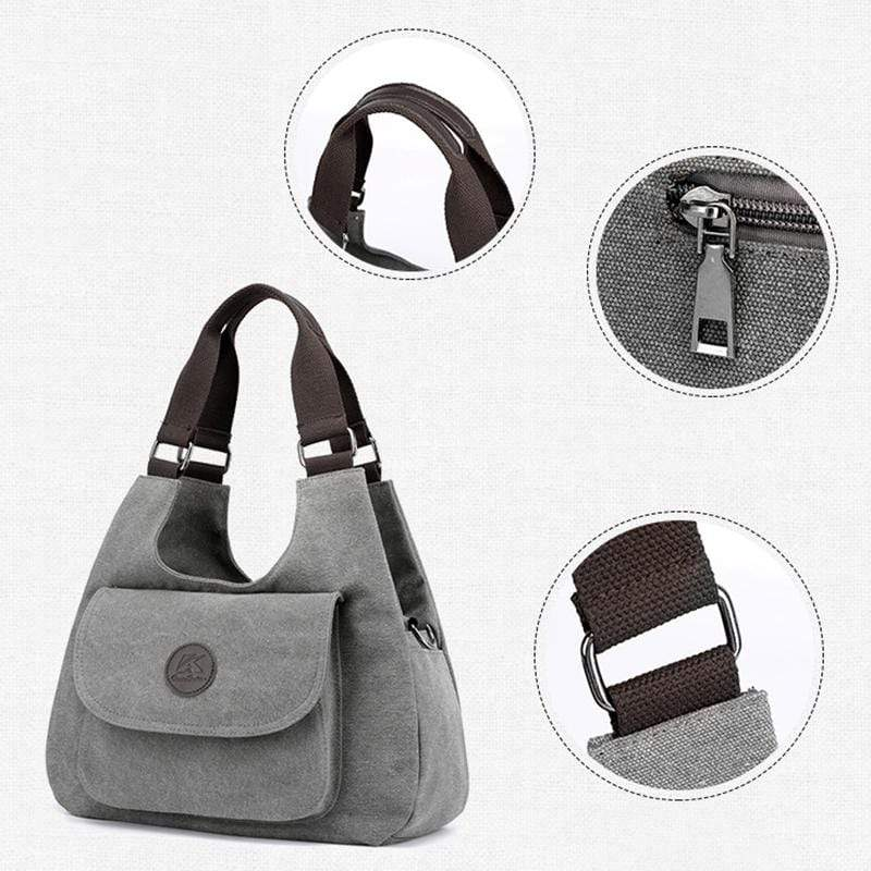 Obangbag Women Casual Simple Multi Pockets Large Capacity Canvas Tote Bag Handbag Sling Bag for Work