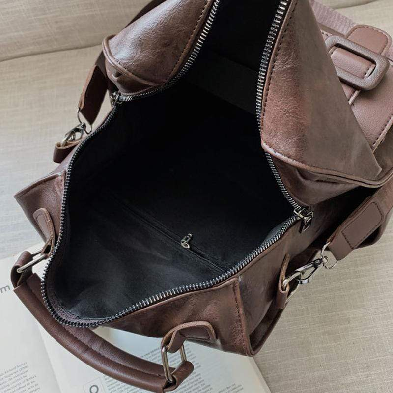 Obangbag Women Chic Big Large Capacity Multifunction PU Leather Backpack Bookbag Shoulder Bag for School