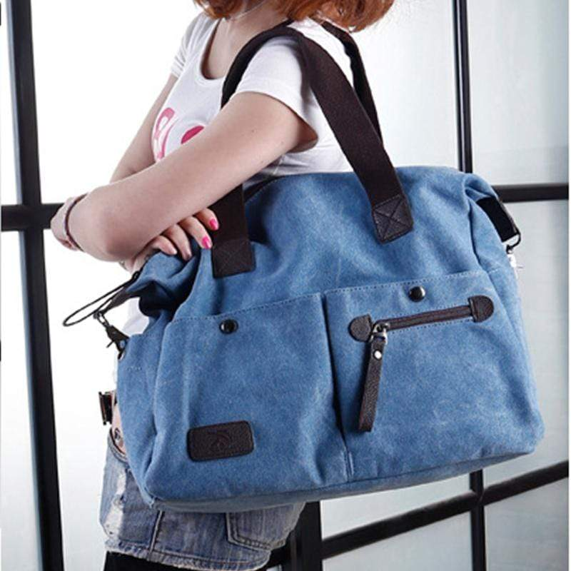 Obangbag Women Chic Casual Large Capacity Big Multi Pockets Canvas Leather Shoulder Bag Crossbody Bag