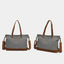 Obangbag Women Chic Casual Large Capacity Leather Canvas Tote Bag Crossbody Bag for Work