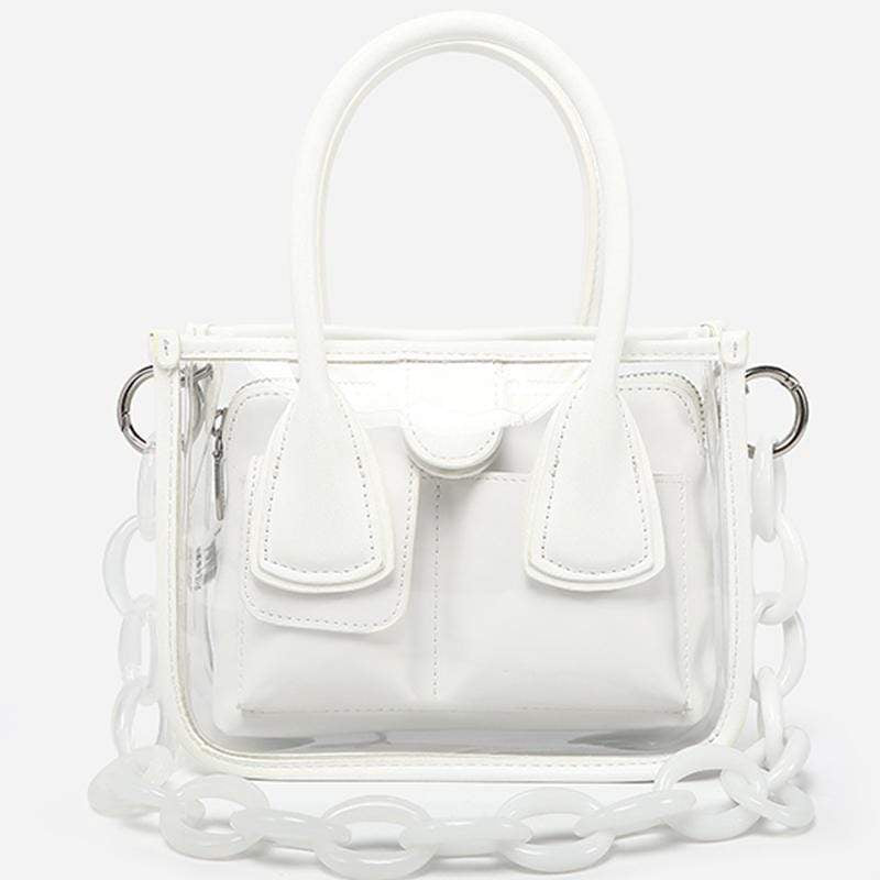Women Chic Cute Small Lightweight Colorful Transparent Clear Plastic Handbag Crossbody Bag Bag Set