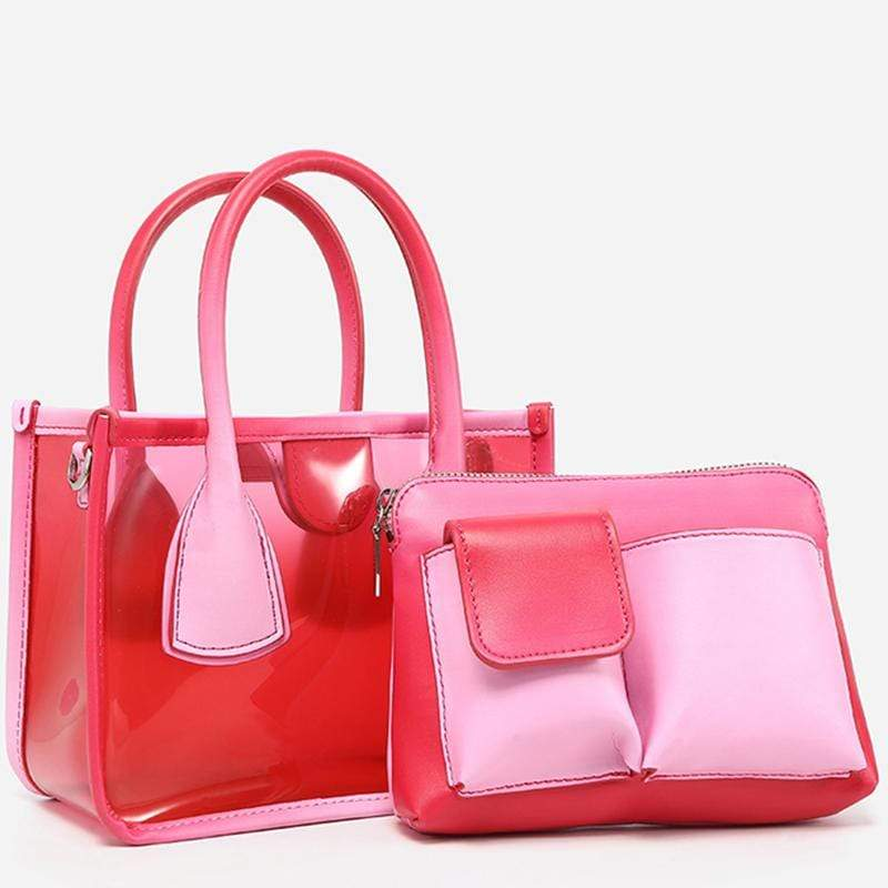 Obangbag Women Chic Cute Lightweight Colorful Transparent Clear Plastic Handbag Crossbody Bag Bag Set