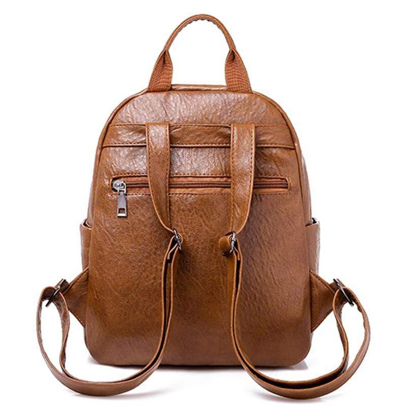 Obangbag Women Chic Cute Vintage Multi Pockets Waterproof Soft Leather Backpack