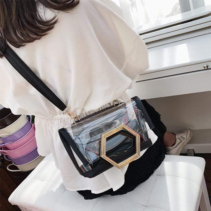 Obangbag Women Chic Designer Multifunction Clear Transparent Plastic Handbag Tote Bag Crossbody Bag for Work