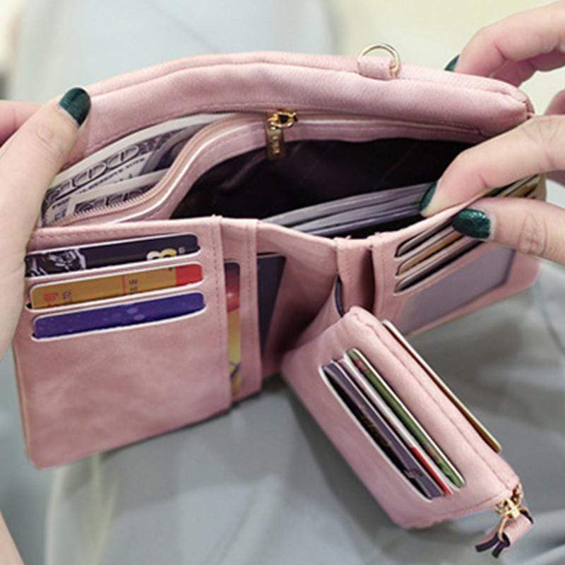 Obangbag Women Chic Elegant Multi Layers Roomy Lightweight Leather Wallet Clutch Bag