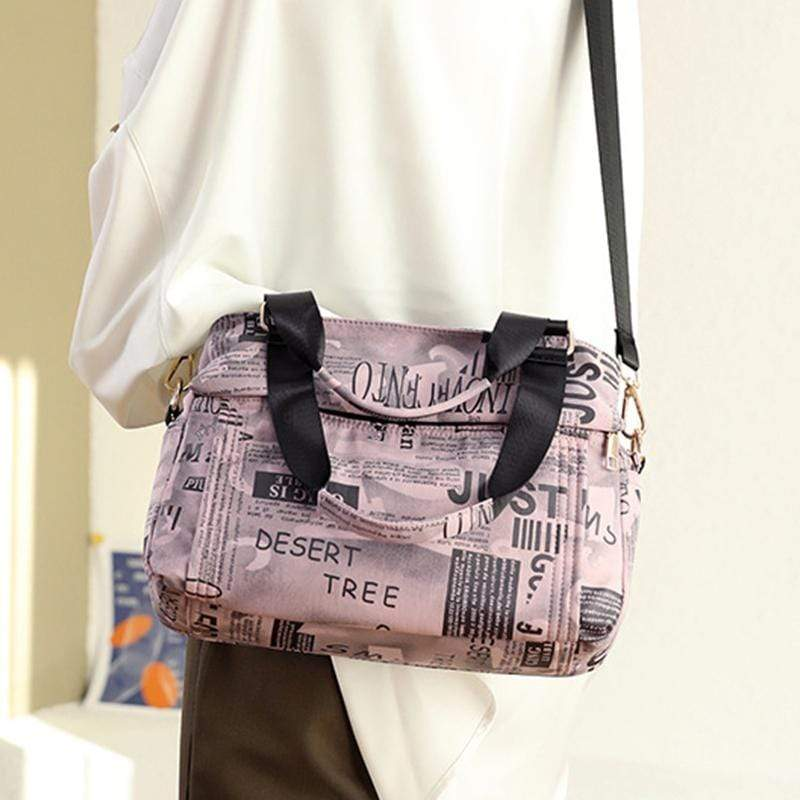 Obangbag Women Chic Fashion Large Capacity Multi Pockets Printed Nylon Handbag Crossbody Bag for Work