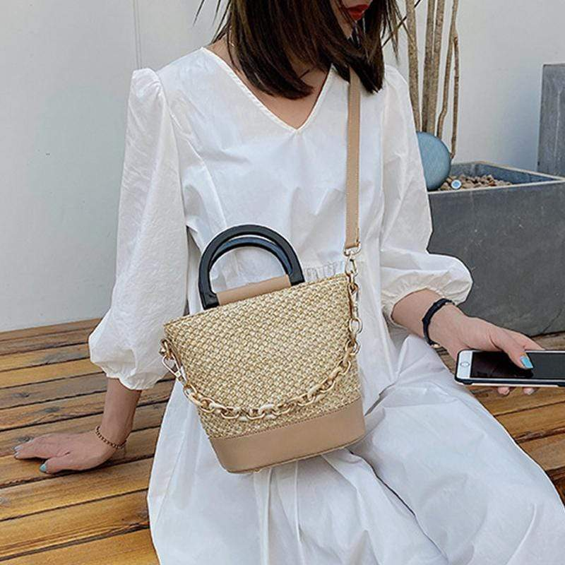 Obangbag Women Chic Lightweight Roomy Woven Summer Spring Straw Bucket Bag Crossbody Bag for Work
