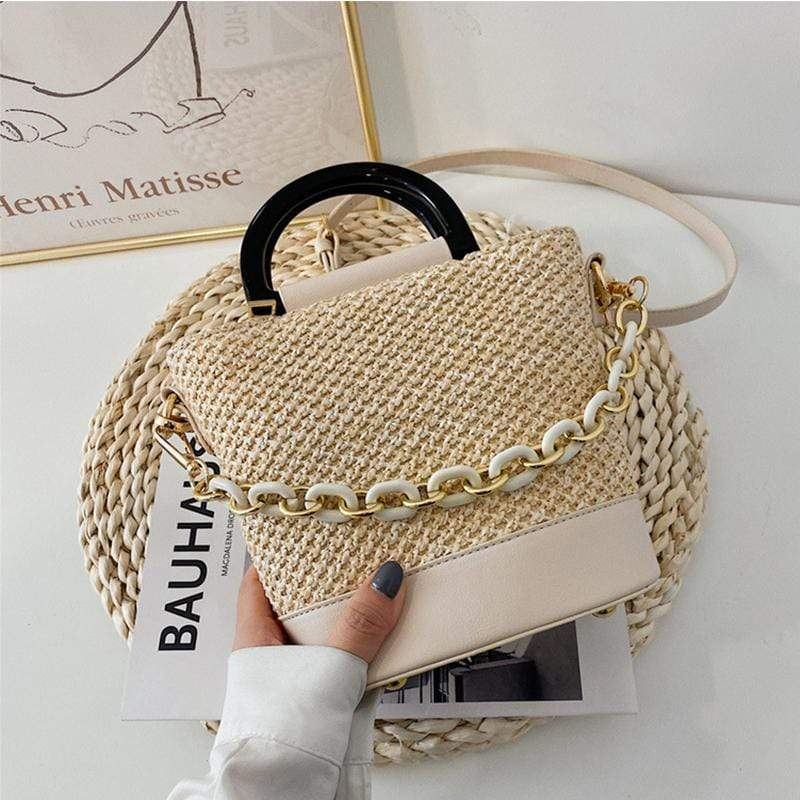 Obangbag Women Chic Lightweight Roomy Woven Summer Sring Straw Bucket Bag Crossbody Bag for Work