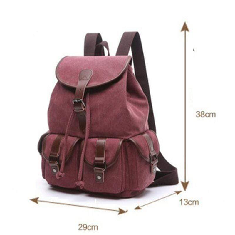 Obangbag Women Chic Multi Pockets Large Capacity Canvas Backpack for School for Traval